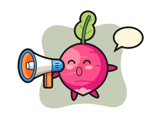 Ilustración de personaje de rábano sosteniendo un megáfono, diseño de estilo lindo para camiseta, pegatina, elemento de logotipo