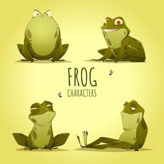 Ilustración de personaje de rana plana