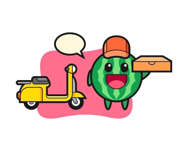 Ilustración de personaje de sandía como repartidor de pizza