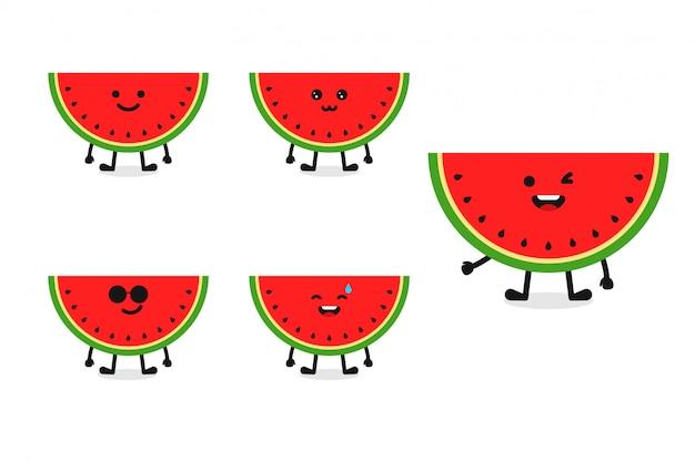 Ilustración de personaje de sandía de fruta para expresión feliz