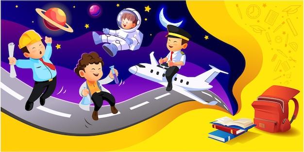 Ilustración de personaje de sueños de estudiantes de niños felices