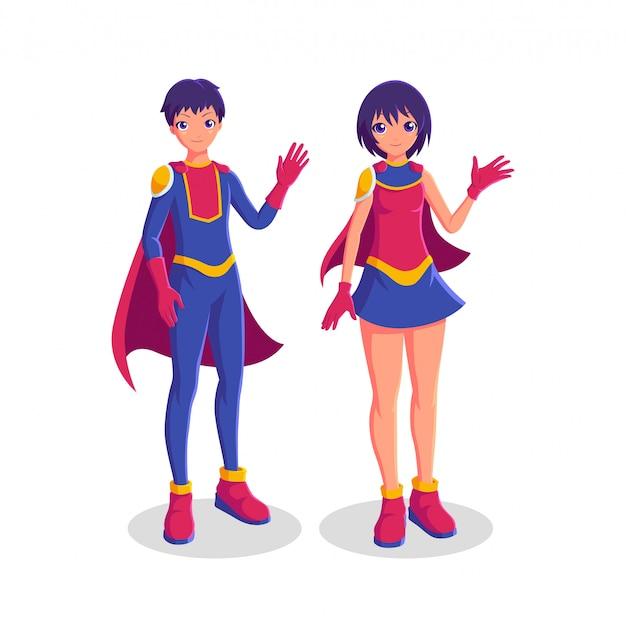 Ilustración de personaje de superhéroe de fantasía de pareja