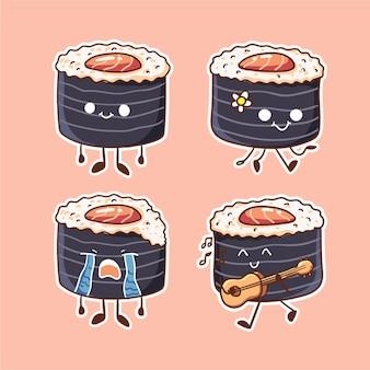 Ilustración de personaje de sushi de rollo de atún picante lindo y kawaii