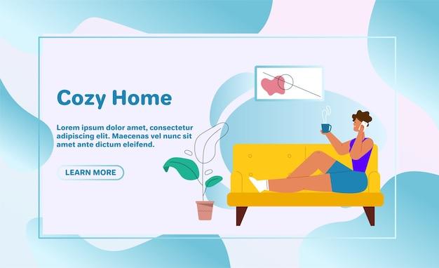 Ilustración de personaje de vector de estancia familiar en casa. papá y mamá sentados en el sofá, trabajando en una computadora portátil, leyendo un libro. hijo juega con cubos de juguete. la hija lee, hace la tarea. sala de estar interior de casa