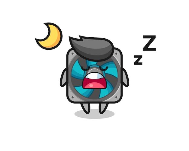 Ilustración de personaje de ventilador de computadora durmiendo por la noche, diseño de estilo lindo para camiseta, pegatina, elemento de logotipo