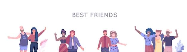 Ilustración de personajes de amigos