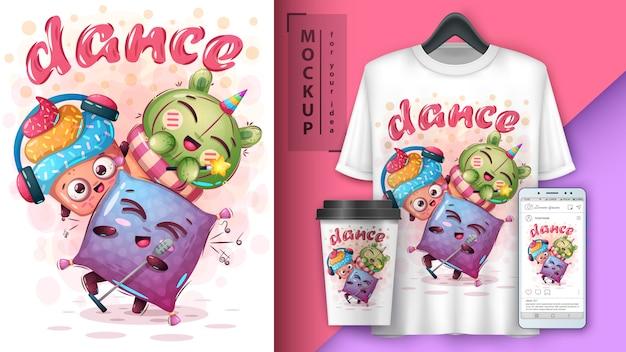Ilustración de personajes de baile y merchandising