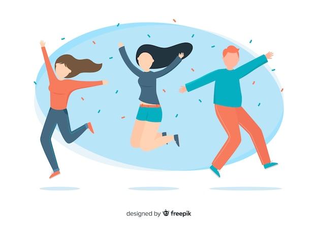 Ilustración de personajes coloridos saltando juntos