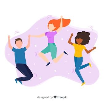 Ilustración de personajes coloridos saltando