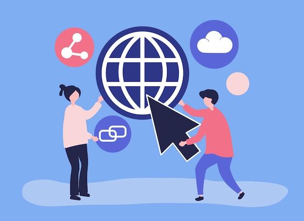 Ilustración de personajes y concepto de comunicación global