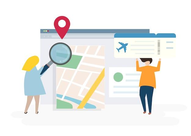 Ilustración de personajes con el concepto de reserva en línea y viajes