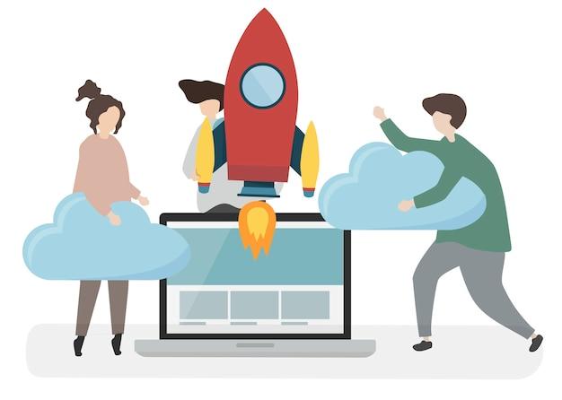 Ilustración de personajes con concepto de tecnología.
