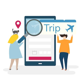 Ilustración de personajes con concepto de viaje y reserva online.