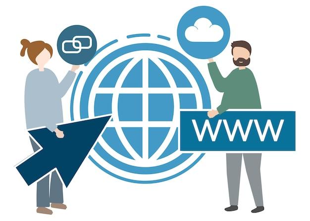 Ilustración de personajes y concepto de www