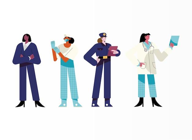 Ilustración de personajes de cuatro niñas de diferentes profesiones.