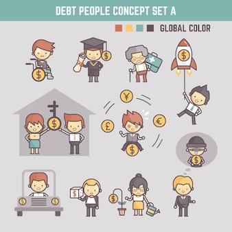 Ilustración de personajes de dibujos animados de contorno de personas en deuda