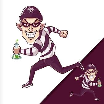 Ilustración de personajes de dibujos animados corriendo ladrón