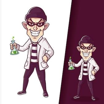 Ilustración de personajes de dibujos animados divertidos de ladrón