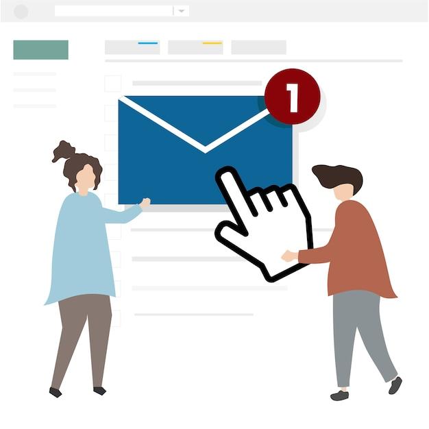 Ilustración de personajes enviando un correo electrónico.