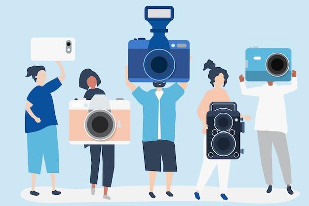 Ilustración de personajes de fotógrafos con cámaras.