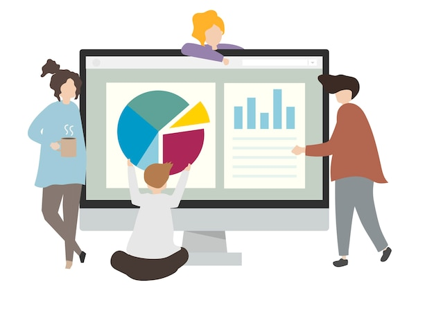Ilustración de personajes con gráficos de negocios