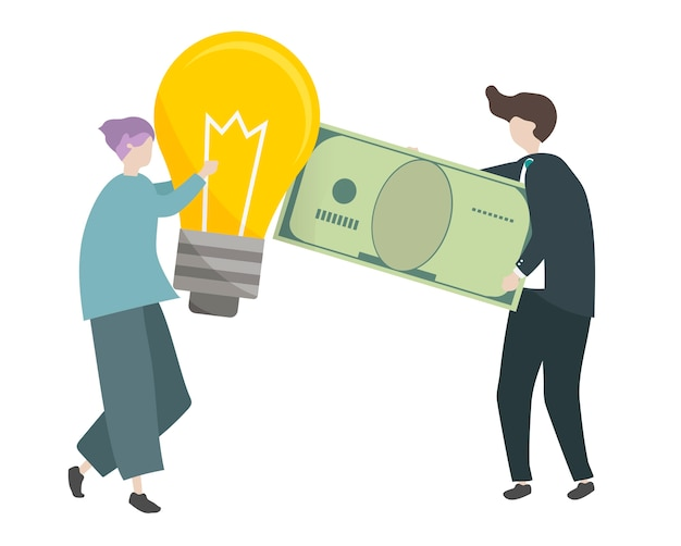 Ilustración de personajes intercambiando dinero con ideas.