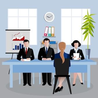 Ilustración de personajes isométricos, recursos humanos haciendo entrevista