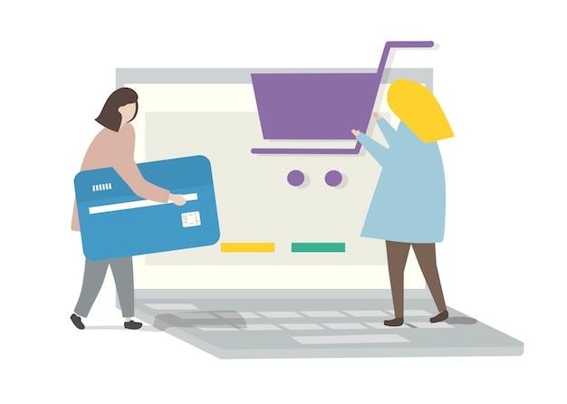 Ilustración de personajes en línea de compras