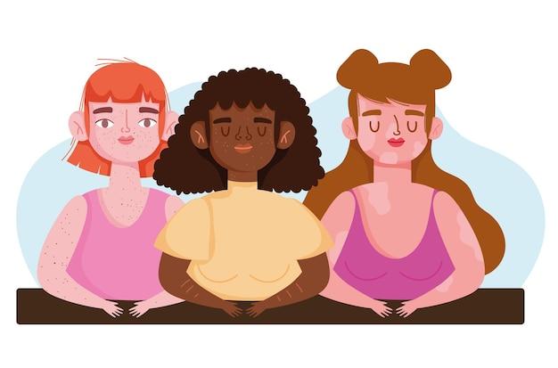 Ilustración de personajes de mujeres jóvenes grupo diverso perfectamente imperfecto