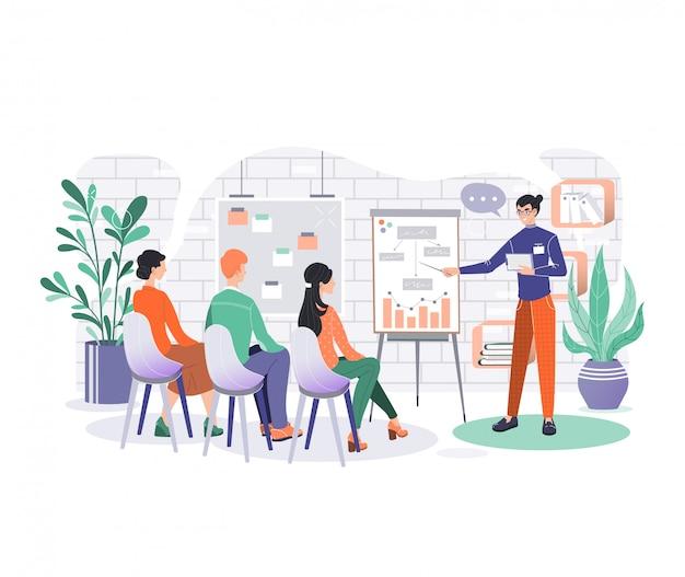 Ilustración de personajes de negocios de oficina, dibujos animados sonrientes empresarios con reunión de la junta en la sala de la oficina en blanco