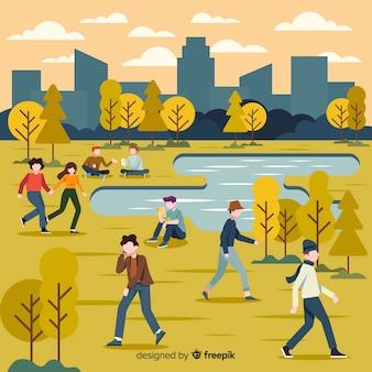 Ilustración con personajes otoño en el parque