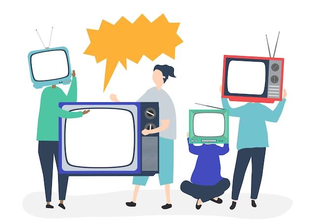 Ilustración de personajes de personas con iconos de tv analógicos.