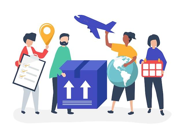 Ilustración de personajes de personas con paquetes para envío.