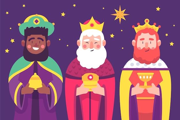 Ilustración de personajes de reyes magos.