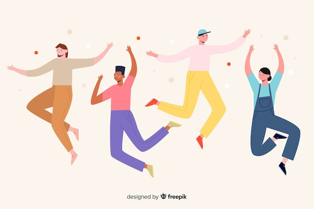 Ilustración con personajes saltando