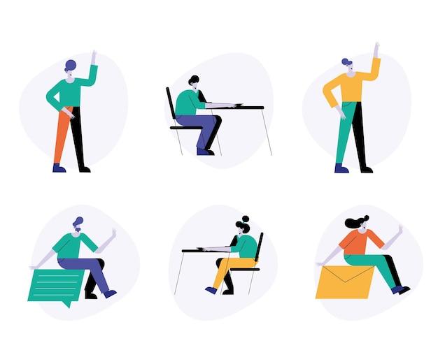 Ilustración de personajes de seis avatares de grupo de jóvenes