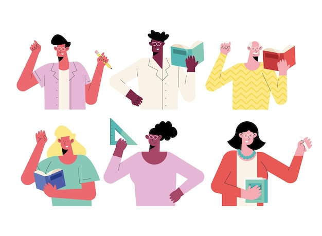Ilustración de personajes de seis maestros