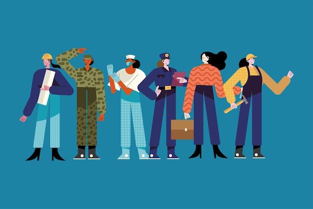 Ilustración de personajes de seis mujeres de diferentes profesiones.