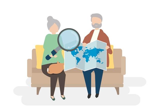 Ilustración de personajes senior con concepto de viaje