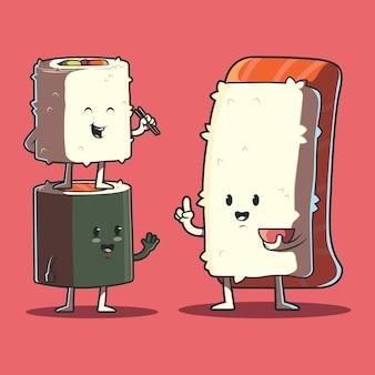 Ilustración de personajes de sushi. comida, divertida, concepto de marca.