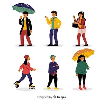 Ilustración con personajes en temporada de otoño