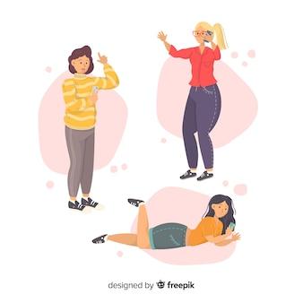 Ilustración con personajes usando móviles