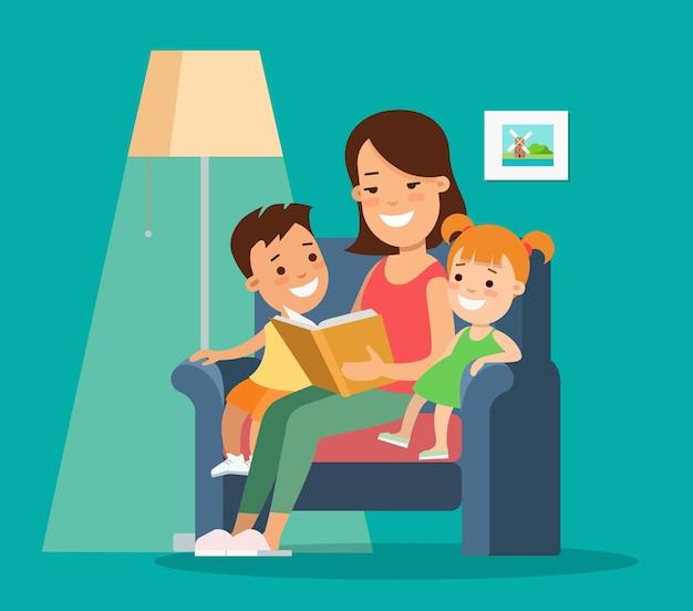 Ilustración de personajes de vector de niños de familia plana