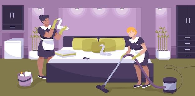 Ilustración del personal del hotel con servicios de limpieza.