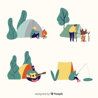 Ilustración de personas acampando en la naturaleza