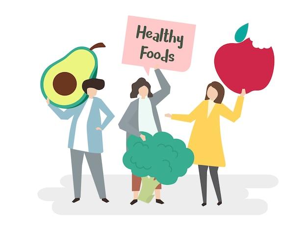 Ilustración de personas con alimentos saludables.