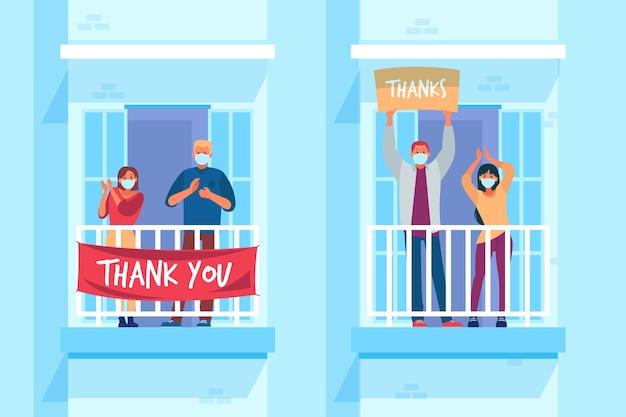 Ilustración de personas aplaudiendo en los balcones