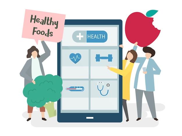 Ilustración de personas con una aplicación de salud