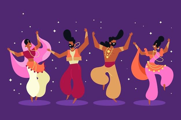 Ilustración de personas bailando bollywood