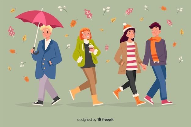 Ilustración de personas caminando en otoño